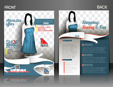 invitation barcode: Shopping Center Store Front& Back Front Flyer Template