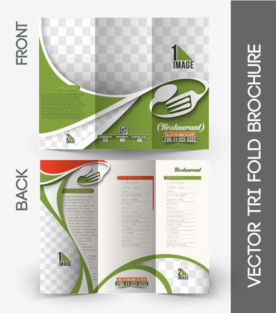 Restaurant & Hotel Tri-Fold Mock up & Brochure Design Illustration