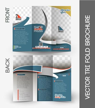 Shopping Center Store Tri-Fold Mock up & Front Brochure Design. Vector