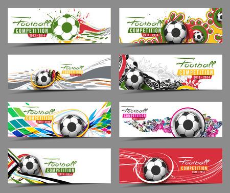 Set van Football Event Banner Kopbal Ad Template Design. Stock Illustratie