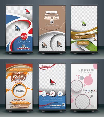 Mega Collection van Roll Up Banner ontwerp Stock Illustratie