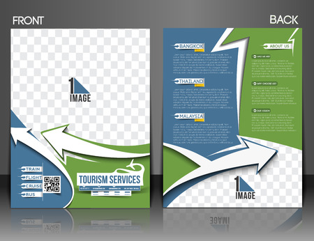 front and back: Travel Center Front & Back Flyer & Poster template Illustration