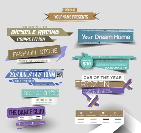 business banner: Collection of Sale Discount Styled Website Banner Illustration
