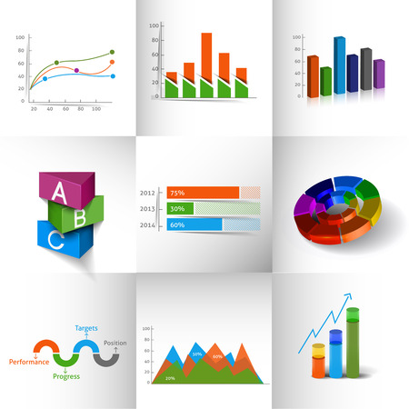 pie chart icon: Collection of Business Infographic Design.