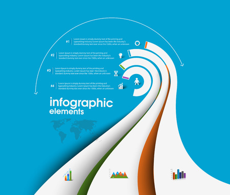 web elements: Business Infographic Background, Vector illustration.