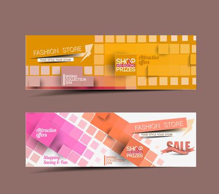 banner website: Fashion Sale Discount Styled Website Banner Stock Illustratie