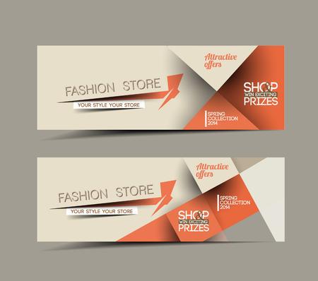 패션 판매 할인 스타일의 웹 사이트 배너 일러스트
