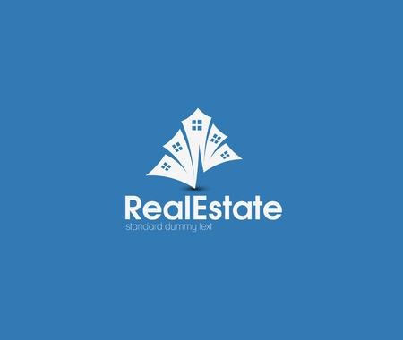 zakelijk: Abstracte Real Estate Pictogrammen en vector logo
