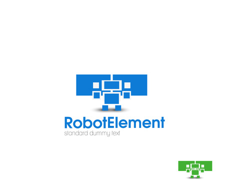 web robot: Abstract Robot web Icons and vector logo Illustration