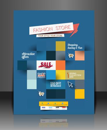magazine design: Set of Fahion Shopping Center Flyer Template. Illustration