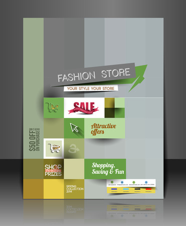 invitation barcode: Set of Fahion Shopping Center Flyer Template. Illustration