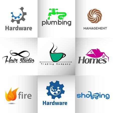 cañerías: Conjunto de iconos web y logotipo vectorial.