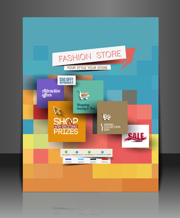 Set of Fahion Shopping Center Flyer Template. Illustration