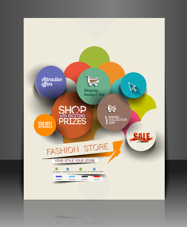 Set of Fahion Shopping Center Flyer Template. 向量圖像
