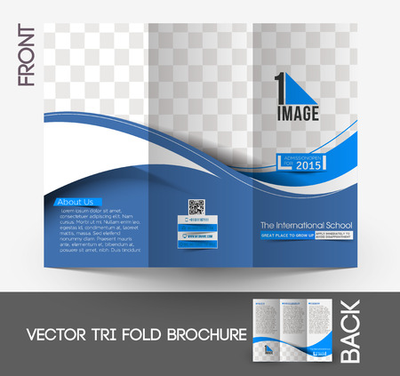 magazine layout design template: The International School Tri-Fold Mock up & Brochure Design