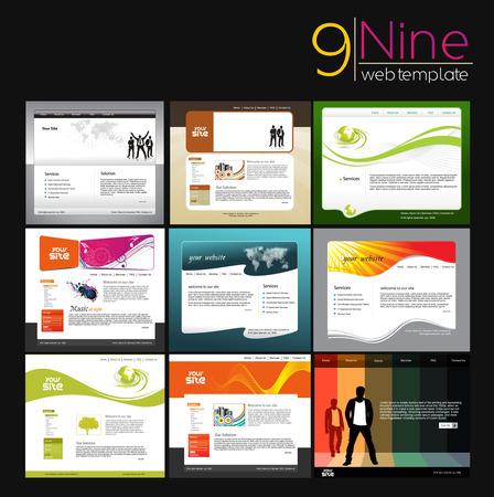 web site design template: Set of Business Web Site Design Template. Illustration