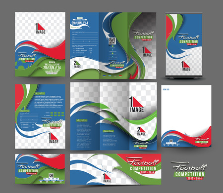 layout design template: Football club Business Stationery Set Template. Illustration