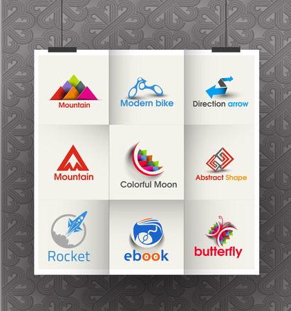 technology people: Collection of Vector Business Logo Design Set