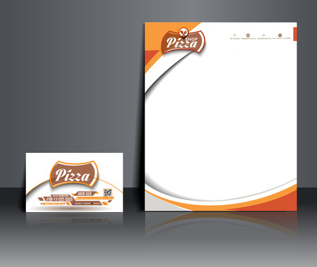 membrete: Pizza Shop Plantilla de identidad corporativa. Vectores