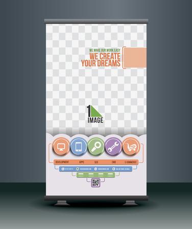 roll up: Apps Development Roll Up Banner Design Illustration