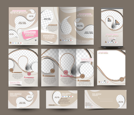 Ice Cream Store Business Stationery Set Template Illustration