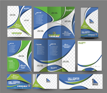 business center: Call Center Corporate Stationery Set Template