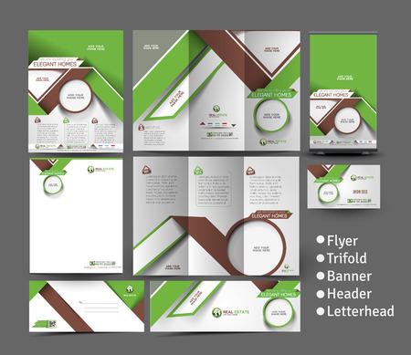 homes: Elegant Homes Business Stationery Set Template Illustration