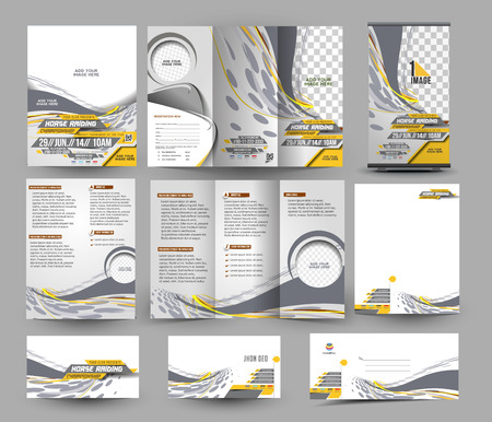 competitions: Jockey Competition Business Stationery Set Template Illustration