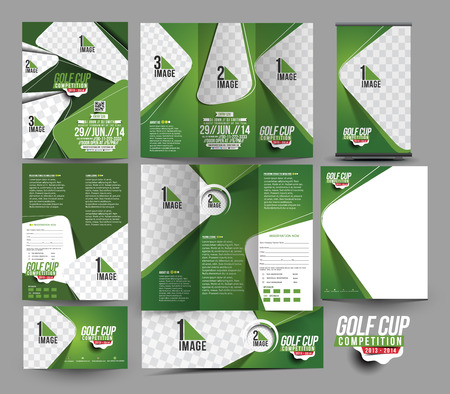 leaflet: Golf Club Business Stationery Set Template