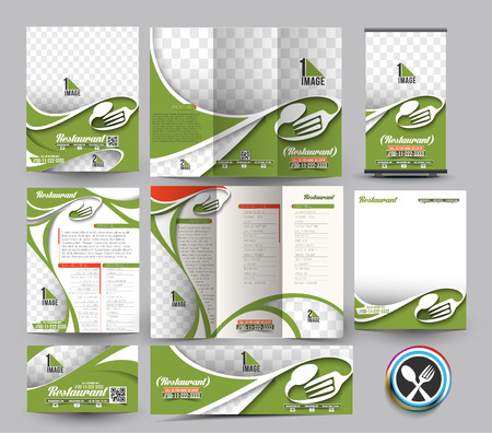 stationery set: Restaurant Business Stationery Set Template.