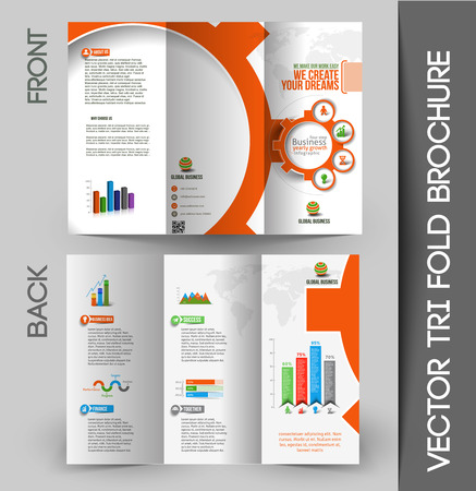Großunternehmen Wickelfalz Mock Up & Broschüre Design- Illustration