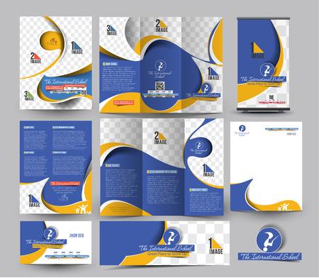 Template School Zakelijke Papier Set Stock Illustratie