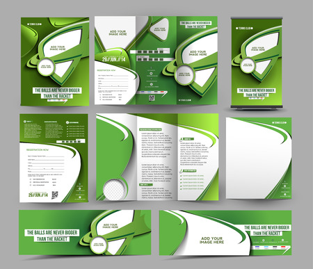 Template Tennis Concurrentie Zaken Papier Set Stock Illustratie