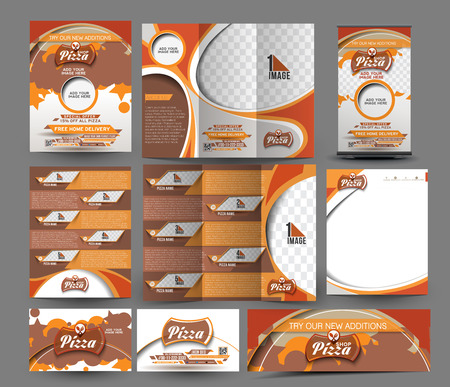 Pizza Shop Business Stationery Set Template