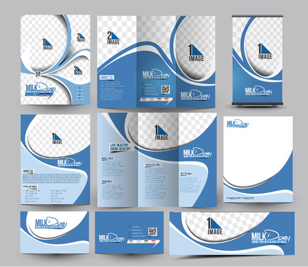 Milk Store Business Stationery Set Template Иллюстрация