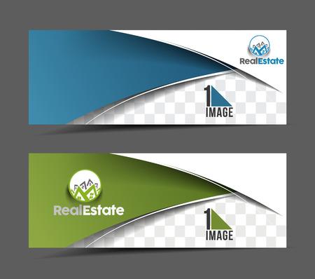 horizontální: Obchodu s nemovitostmi Ad, Web Banner a záhlaví šablony rozvržení