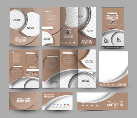 jewelry store: Jewelry Store Business Stationery Set Template. Illustration