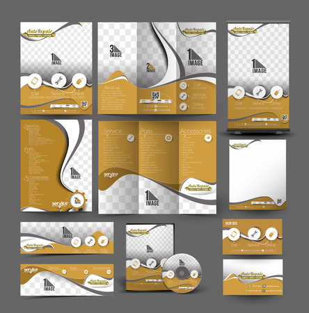 up service: Automobile Center Business Stationery Set Template Illustration