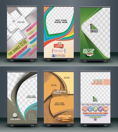 sjabloon: Mega Collection van Roll Up Banner ontwerp Stock Illustratie