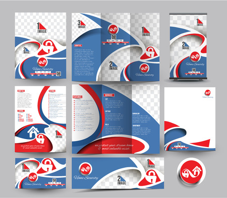 website security: Security Center Business Stationery Set Template