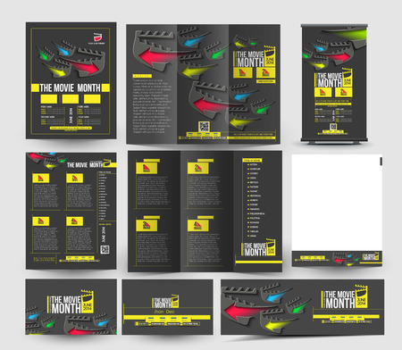 show business: Movie Show Business Stationery Set Template Illustration