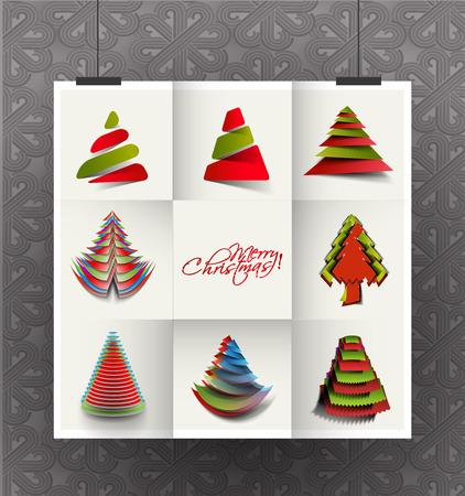 funky: Set of Modern Christmas Tree Background