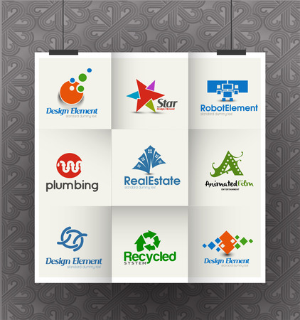 Set of Icons for Corporate Symbol Design Template 일러스트