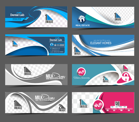webpage: Set Of Modern Abstract Business Banner Template
