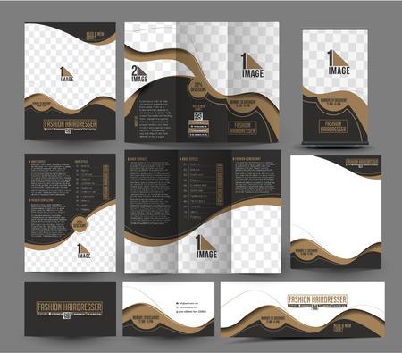 folleto: Moda Peluquer�a y Sal�n Corporativa Papeler�a Plantilla Set. Vectores