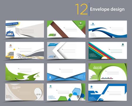 sobres para carta: Conjunto de modelos de la envoltura de papel para su diseño del proyecto