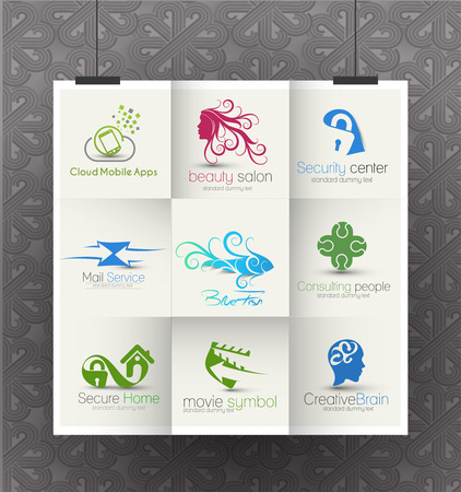 Set of web Icons and vector logo