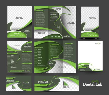 Dental Hospital Business Stationery Set Template.