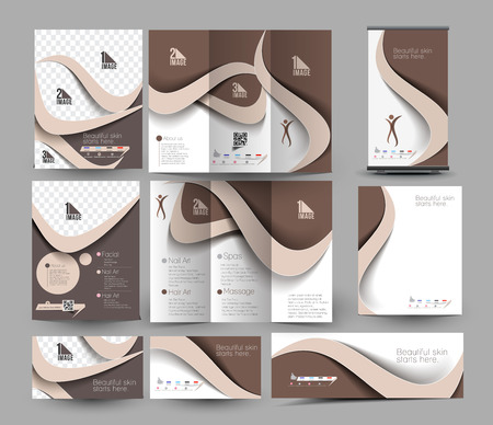 business center: Beauty Care & Salon Business Stationery Set Template