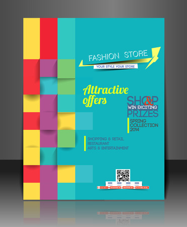 magazine layout design template: Shopping Center Store Flyer Template Design